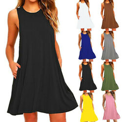 Women Sleeveless Midi Dress Solid Casual Party Tank Dress A-line Beach Sundress $9.71