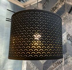 Ikea NYMÖ NYMO Large Floor Pendant Lamp Shade Perforated Black Brass 17quot; $67.99