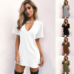 Women Summer V Neck Short Sleeve Dress Solid Casual Beach Tunic A-line Sundress $7.13