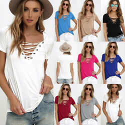 Women Summer V Neck Short Sleeve T Shirt Casual Tunic Beach Solid Blouse Top Tee $8.18