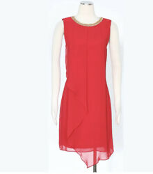 MSK Red Cocktail Dress Size 12 Beaded Neckline Layers Women#x27;s $34.00