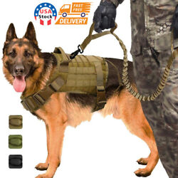 Tactical Police K9 Training Dog Harness Military Adjustable  Nylon Vest+Leash $23.99