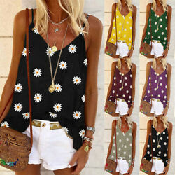 Women Summer Floral Casual Tank Top V Neck Loose Beach Blouse Backless T Shirt $8.39