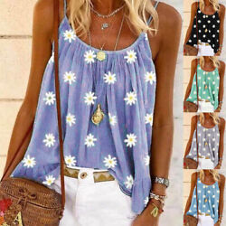 Women Summer Sleeveless Crew Neck T Shirt Print Blouse Casual Beach Tank Top Tee $8.93