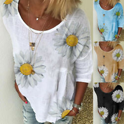 Women Summer Short Sleeve Crew Neck T Shirt Casual Floral Printing Blouse Tops $8.81