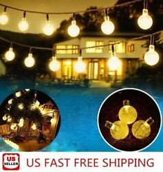 20ft 30 LED Solar String Ball Lights Outdoor Waterproof Warm White Garden Decor $13.50