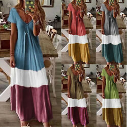 Women Boho Long Maxi Dress Cocktail Party Evening Summer A Line Beach Sundress $12.01