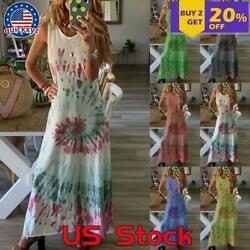 Women Summer Casual Long Maxi Dress Ladies Beach Sleeveless Boho Holiday Dresses $10.49