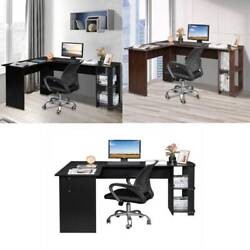 Corner Computer Desk Rotating L Shape Gaming Study PC Table Home Furniture FCH $103.98