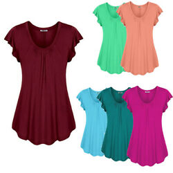 Women#x27;s Summer Short Sleeve Blouse T Shirt Tops Casual Loose Tunic Tee Plus Size $14.69