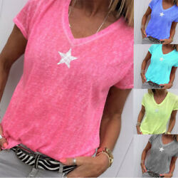 Summer Women Solid T Shirt V Neck Short Sleeves Tops Loose Casual Blouse $11.54