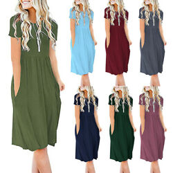 Womens Summer T Shirt Dress Short Sleeve A Line Tunic Dress Party Short Sundress $13.32