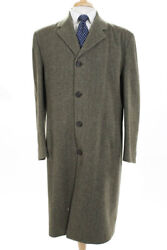 Barneys New York Mens Button Up Herringbone Print Coat Olive Green Wool Size 42R $34.01