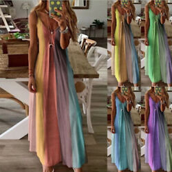 Women Summer Floral V Neck Maxi Dress Sleeveless Boho Suspenders Party Sundress $11.27