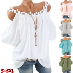Women Summer Lace Crew Neck Cold Shoulder T Shirt Casual Solid Blouse Loose Tops