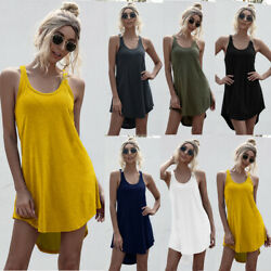 Women Summer Crew Neck Tank Top Mini Dress Casual Loose Solid Skirt Beach Dress $9.44
