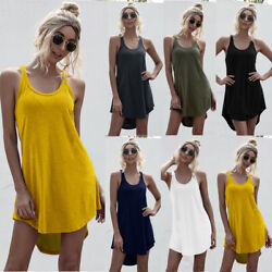 Women Summer Crew Neck Tank Top Mini Dress Casual Loose Solid Skirt Beach Dress $9.55