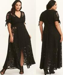 20 2X Torrid Runway Collection Black Floral Embroidered Rose Chiffon Maxi Dress