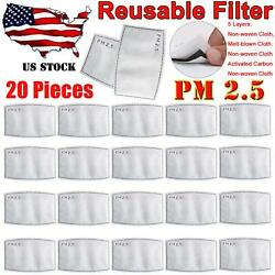 20 Pieces PM2.5 Activated Carbon Filters 5 Layer Replacement For Face Mask Cover $11.99