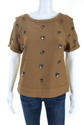 Greylin Anthropologie Womens Short Sleeve Jeweled Top Brown Size Small $29.99