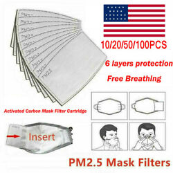 US 10~100PCS Insert PM2.5 Carbon Activated Filter For Face Mask Replace Breath $12.39