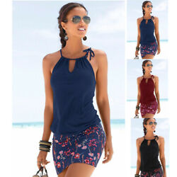New Women Summer Sleeveless Loose Beach Dress Splice Print Solid Casual Sundress $9.66