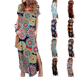 Women Summer Short Sleeve V Neck Dress Loose Floral Print Beach Casual Sundress $13.64