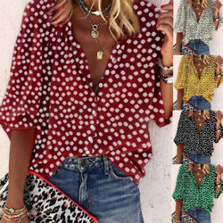 Women Summer Long Sleeve V Neck T Shirt Floral Print Blouse Casual Loose Top Tee $15.23