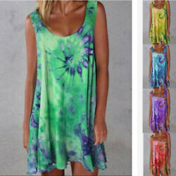 Women Summer Loose Sleeveless Tie-dye print Dress Casual V Neck Beach Sundress $10.07