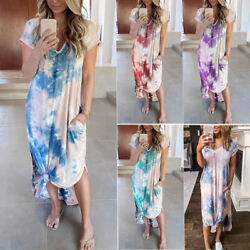 Women T Shirt Long Maxi Dress Split Evening Party Casual Shirt Dress Summer Plus $18.05