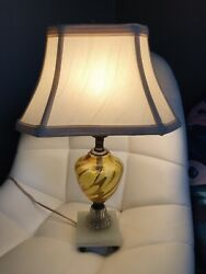 Vintage TABLE LAMP Mid Century Modern 1940s Yellow Glass Base $50.00