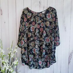 Cato Floral Print High-low Short Sleeve TunicBlouse Size 26W $16.99