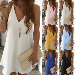 New Women Casual V Neck Suspenders Sleeveless Dress Solid Beach Summer Sundress  $10.07