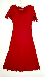 Talbots Party Dress Petites Size 12 Maroon Slit Short Sleeves cocktail wear $38.85
