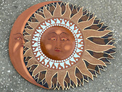 SUN MOON MIRROR HAND CARVED WOOD WALL ART ISLAND TROPICAL PATIO TIKI DECOR