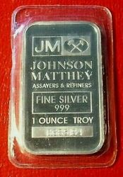 Johnson Matthey {Commercial Assayers & Refiners Bar} 1 oz.999 Fine Silver Sealed $21.50