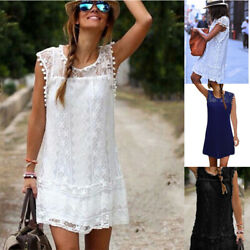 Women Summer Sleeveless Loose Crew Neck Dress Lace Solid Beach Casual Sundress $8.39