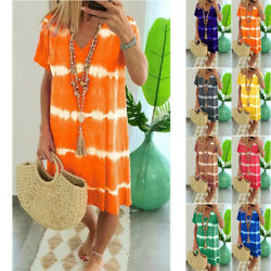 Women Summer Tie-dye Short Sleeve V Neck Dress Loose Beach Casual Tops Sundress $12.18