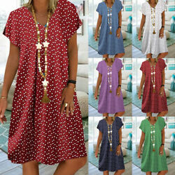 Women Summer V Neck Short Sleeve Midi Dress Casual Loose Dot Print Beach Dress $11.03