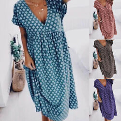 Women Summer V Neck Short Sleeve Midi Dress Casual Loose Boho Floral Beach Dress $18.38