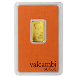 5 Gram Valcambi .9999 Fine Gold Bar in Assay $321.06