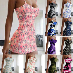 Women Summer Casual Sleeveless Dress Camouflage Print Loose Beach Tops Sundress $8.39