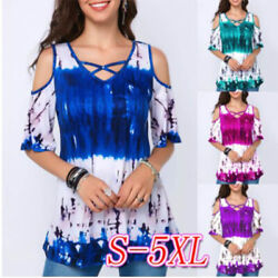 Summer Womens Casual Floral T Shirt Crew Neck Tops Size Plus Short Sleeve Blouse $10.37