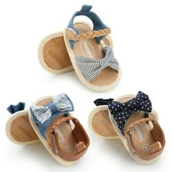 Girls Canvas Bow knot Sandals Summer Beach Shoes Baby Walking Shoes Fashion $8.99