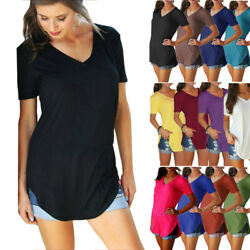 Women V Neck Short Sleeve T Shirt Solid Slit Casual Tunic Blouse Loose Beach Top $8.39