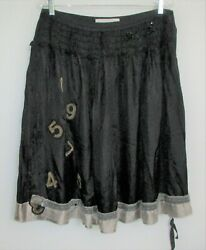 Lili Petrus Italy Black Rayon Skirt wNetting Ruffle & Numbers Applique Sz 12