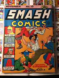 Smash Comics 16 1940 3rd Ray! Cool Book Has Slight Color Touch $425.00