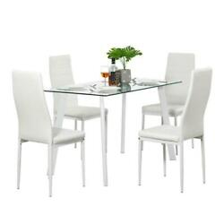 Lot 5 Top Dining Set Glass Table and 4 Leather Chair for Kitchen Dining Room NEW $208.95