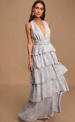 LULUS Blooming Kiss Dusty Blue Floral Print Tiered Maxi Dress - Size L - NEW $29.62