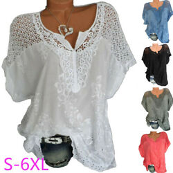 Women Summer Casual Short Sleeve T Shirt V Neck Lace Floral Tops Loose Blouse $11.24